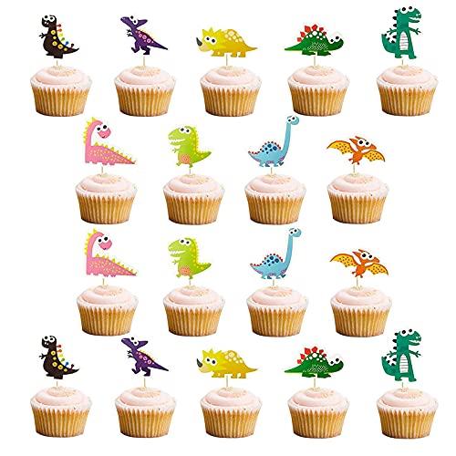 Decoración para Tarta de Fiesta de Dinosaurios 18 Piezas Decoración de Pastel de Dinosaurio Decoración de la Torta de Los Dinosaurios Accesorios para Fiesta de Cumpleaños y Decoración de Tartas