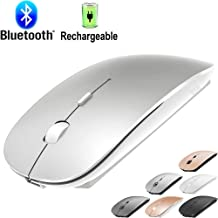 Rechargeable Bluetooth Mouse for Laptop Mac Pro Air Bluetooth Wireless Mouse for MacBook pro MacBook Air MacBook Mac Window Laptop (Silver)