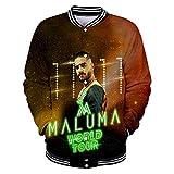 Photo de Maluma Pullover Vêtements d'extérieur Impression numérique Veste de Baseball Personnalité Uniforme Manteau Populaire Unisexe (Color : A08, Size : Height-180cm(Tag XL)) par