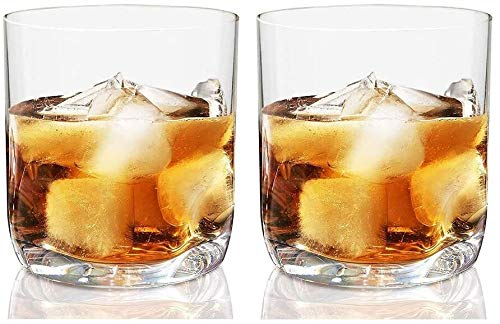12.5 Oz Whisky Doble Antigua Gafas, Pulgar sangría Base, Lavavajillas Utensilios for Bar Caja de Seguridad, Ideal for Bourbon y Whisky Casas y Bares Juego de 2 HMLIFE
