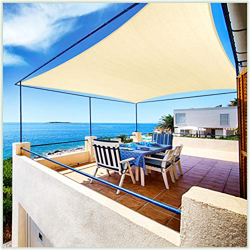 ColourTree 8' x 12' Beige Rectangle Sun Shade Sail Canopy Awning Shelter Fabric Cloth Screen - UV Block UV Resistant Heavy Duty Commercial Grade - Outdoor Patio Carport - (We Make Custom Size)