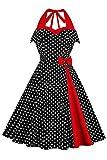Robe de Soirée Femme Chic Jointif Col Halter Licou à Pois Vintage rétro année 50s pin-up Rockabilly Swing Noir L