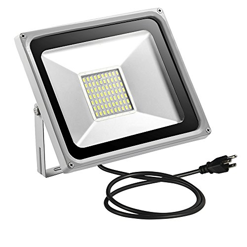 WZTO Outdoor LED Flood Light 50W,5000LM, 200W Halogen Blub Equivalent IP65 Waterproof Outdoor Floodlights Ultra Bright Indoor Outdoor Lighting with Plug for Garden Yard Garages Park(with Plug)