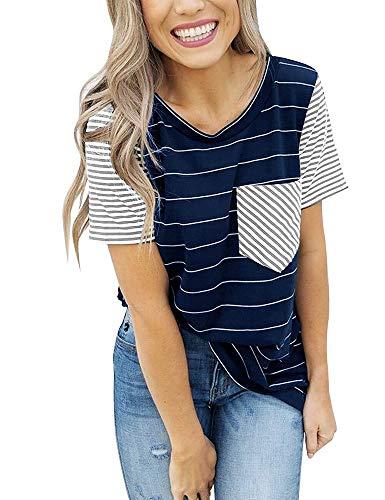 Amazonas Neues 2020 EuropäIsche Und Amerikanische Frauen FrüHjahr Und Sommer Kurzarm Gestreifte Tasche Stitching T-Shirt Bottoming Shirt