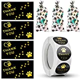 50 Pet Paw Print Bags Pet Paw Cone Cellophane Bags and 50 Twist Ties for Bags, 650 Pieces Thank You Cards and Stickers Set, 500 Pieces Dog Paw Print Thank You Label, 100 Pieces 9 x 5 cm Greeting Cards