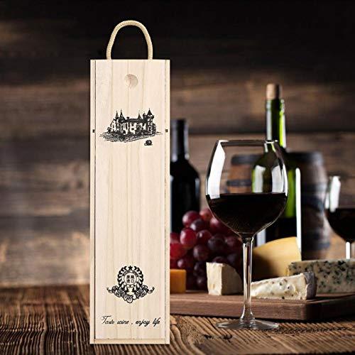 Delicada caja de vino tinto de madera con caja de almacenamiento portátil fácil de llevar
