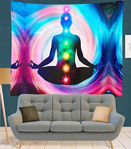 TEDDRA Tapiz de arte de chakra, diseño de mandala, hippie, macramé, decoración bohemia, psicodélico, tapiz de brujería, verde ejército, 200 x 150 cm