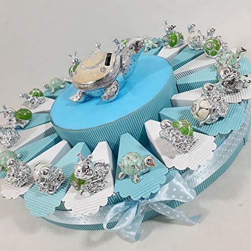 (Torta + 20 fette + 20 bomboniere+salvadanaio Tartaruga + 20 Blister di 5 Confetti) Torta bomboniere Battesimo Maschio animaletti argentat Centrale salvadanaio *
