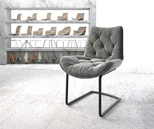 DELIFE Stuhl Taimi-Flex Freischwinger rund schwarz Samt Grau