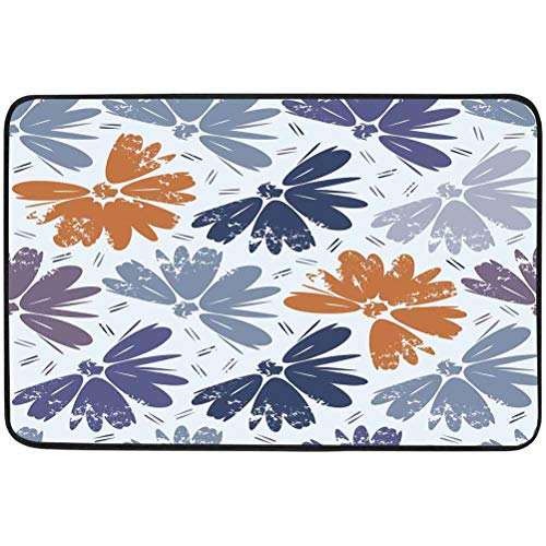 Home Decor Doormat, Seamless Vector Floral Background in Retro Style, W15.75 x L23.6 Inch Indoor Outdoor Door Mat for Hallway Living Room