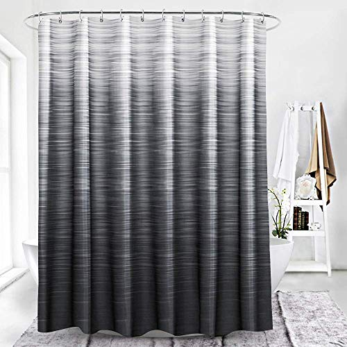 SPXUBZ Modern Black Black Ombre Textured Grey Natural Art Print Black and Gray Shower Curtain Waterproof Bathroom Decor Polyester Fabric Curtain Sets with Hooks