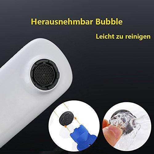 Homelody – Edle Waschtischarmatur, Einhebel, ohne Ablaufgarnitur, Keramik-Kartusche, Weiß-Chrom - 2