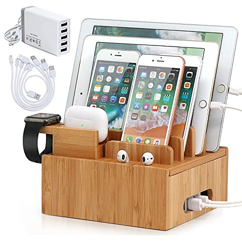 Pezin & Hulin Bamboo Charging Station for Multiple Devices (Included 5 Port USB Charger, 5 Pack Cables, SmartWatch & Earbuds Stand), Electronic Device Organizer for Cell Phone, Tablet