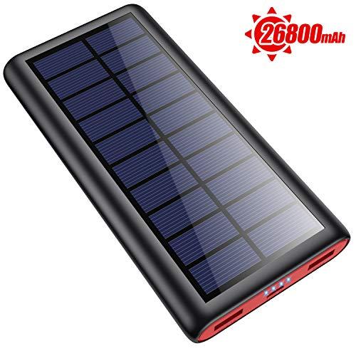 SWEYE Solar Powerbank 26800mAh Solarladegerät,【2020 Neuestes Solar Ladegerät】 Externer Akku Tragbares Ladegerät Akkupack mit 2 Ausgänge Power Bank für Handy Tablet Smartphone, Camping Wandern