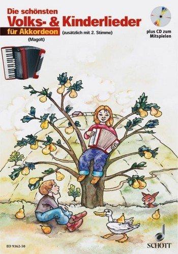 Las mejores canciones para la población y los niños para acordeón (+ CD) con lápiz – 31 melodías muy fáciles de poner para 1 – 2 acordeones con texto y símbolos de acordes (notas/música de kareet).