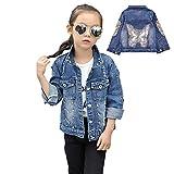 LPATTERN - Giacca in jeans per bambini, con cappuccio, in denim, a maniche lunghe Denim blu (farfalla) 11-12 Anni