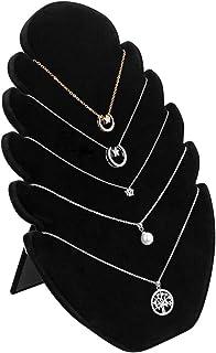EMAGEREN Présentoir Bijoux en Velours Noir Présentoir Collier avec 5 Encoches Presentoir Bracelet Support à Bijoux 20.3*27...