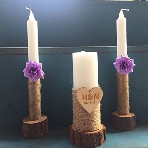 mylifemylove Custom Wedding Unity Candles Set of 3, Rustic Wedding Candles Wedding Ceremony Unity Candle With Purple Flowers