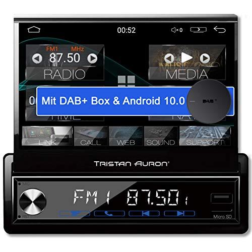 Tristan Auron BT1D7027A Android 10 Autoradio + DAB+ Box I 7'' Touchscreen ausfahrbar I GPS Navi 32GB Bluetooth Freisprecheinrichtung I USB SD DAB Plus 1 DIN