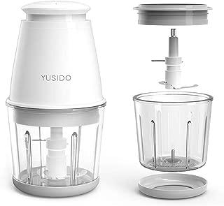 Yusido フードプロセッサー みじん切り器 離乳食 ミキサー 多機能肉野菜フードチョッパー 0.6L (2xカップ ホワイト)