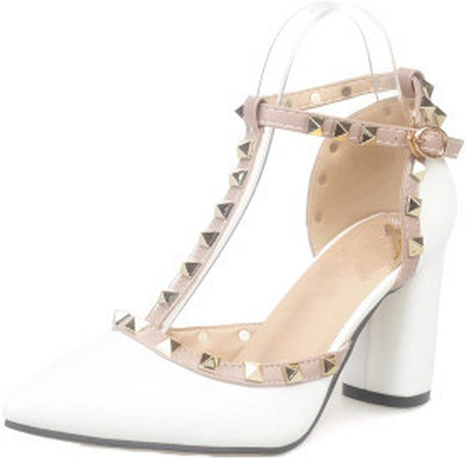 HANBINGPO Women's shoes Summer Thick with Pumps Buckle Hollow Rivets Pointed high-Heeled Patent Leather Sandals,White,37