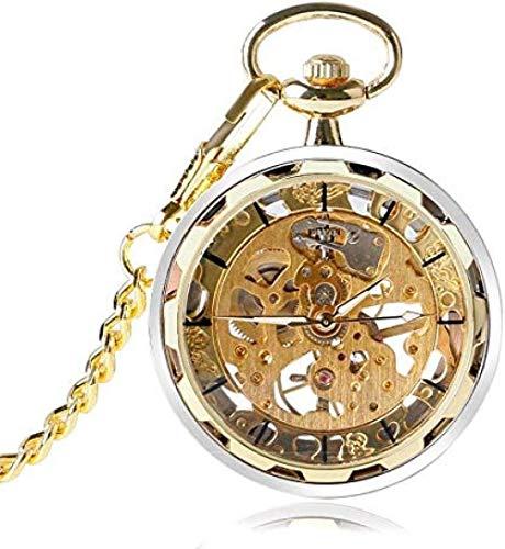 huangshuhua Reloj de Bolsillo mecánico de Cuerda Manual con Esqueleto Steampunk Dorado con Cadena para Hombres y Mujeres