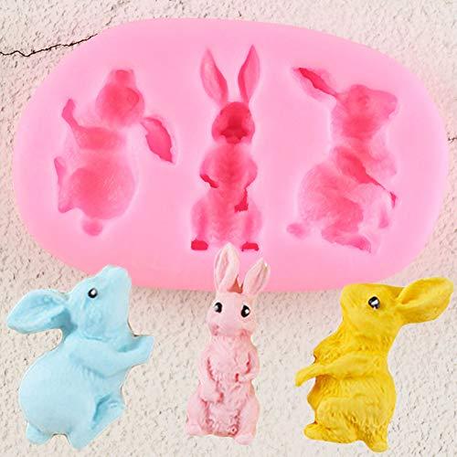 N /A Kaninchen Silikonformen Animlas Bunny Fondantform DIY Kuchen Dekorationswerkzeuge CandyGumpaste Form Harz Tonformen