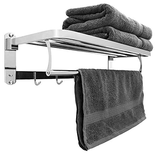 Estante para Toallas de Acero Inoxidable. Toallero baño de 60 cm montados en la Pared. Toallero Pared para Toallas Plateados / cromados de Metal Cepillado para baños y Almacenamiento de Toallas