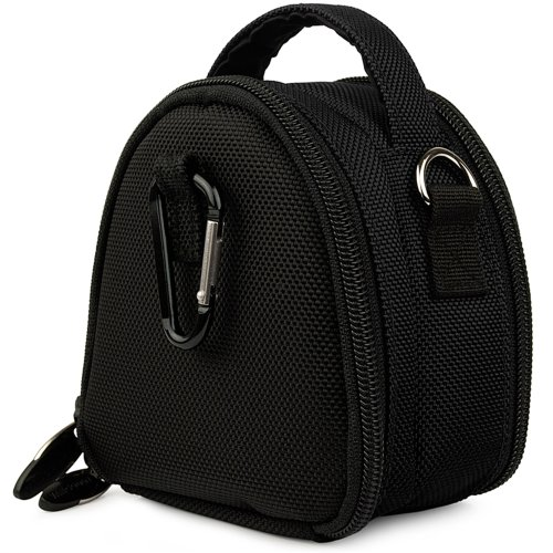 Black Limited Edition Camera Bag Carrying Case with Extra Accessory Compartment for Canon Power-Shot series- Point and Shoot Digital Camera + Includes Gray 6 Inch Mini Tripod