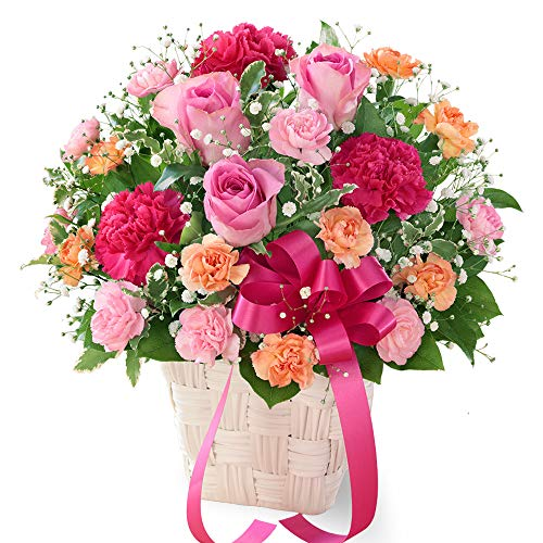 【母の日ギフト】ピンクリボンのアレンジメント mt01az-521315 花キューピット 女性 お母さん ママ 母 祖母 誕生日 プレゼント カーネーション