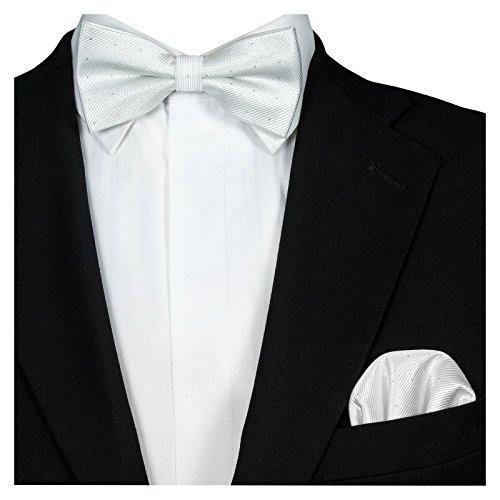 GASSANI 2Tlg Fliegenset, Festliche Weisse Herren-Fliege Silber Gepunktet, Hochzeitsfliege Anzug-Schleife Vor-Gebunden Ein-Stecktuch Vorgefaltet