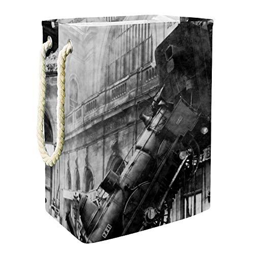 MUOOUM Train Wreck - Cesto de vapor para lavandería plegable de 49 cm, impermeable, con asas para almacenamiento de la habitación de los niños, organizador del hogar, guardería, cesta para bebé