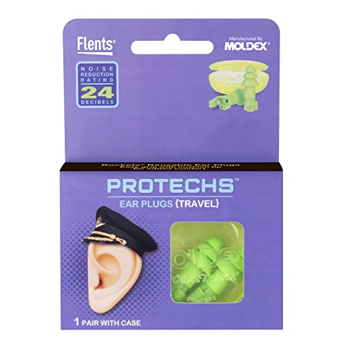 Protechs Ear Plugs for Travel, 1 Pair with Case, NPR 24