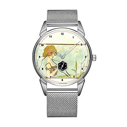 Mode Herrenuhr silbrig Edelstahl wasserdicht Uhr Herren Top Marke Herrenuhr Uhr Jugendstil Mädchen mit Tieren - Raphael Kirchner Uhren
