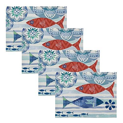Xmansky Inicio - Servilletas de tela reutilizables con mapa náutico y caballito de mar, fácil de limpiar, lavable (32 x 42 cm)
