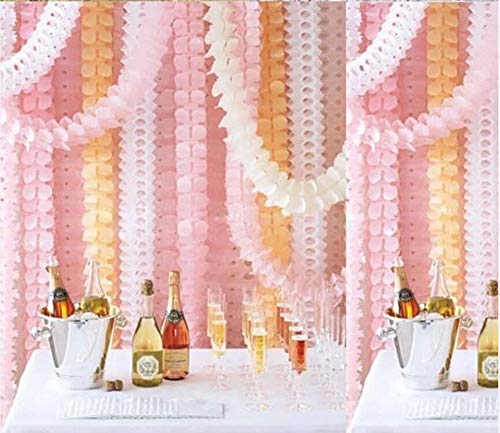 Ototon Hanging Garland Pastel Four-Leaf Tissue Paper Flower Garland Reusable Party Streamers for Party Wedding Decorations
