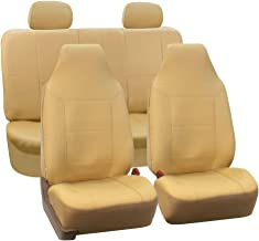 FH Group FH-PU103114 High Back Royal PU Leather Car Seat Covers Airbag & Split Solid Beige-Fit Most Car, Truck, SUV, or Van