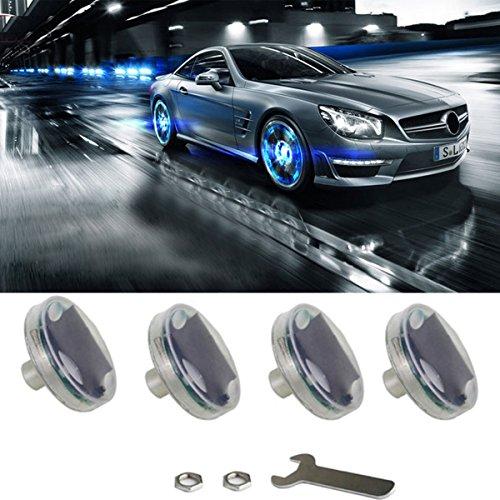 Autoreifenlichter, 4 Stück, Solar-Ventilkappe, Licht mit Bewegungssensoren, buntes LED-Reifenlicht, Gasdüse, Bewegungssensoren für Auto, Fahrrad, Motorräder