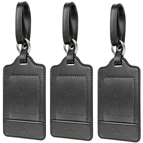 Luggage Tags, 3 Pack Teskyer Premium PU Leahter Luggage Tags Privacy Protection Travel Bag Labels Suitcase Tags-Black
