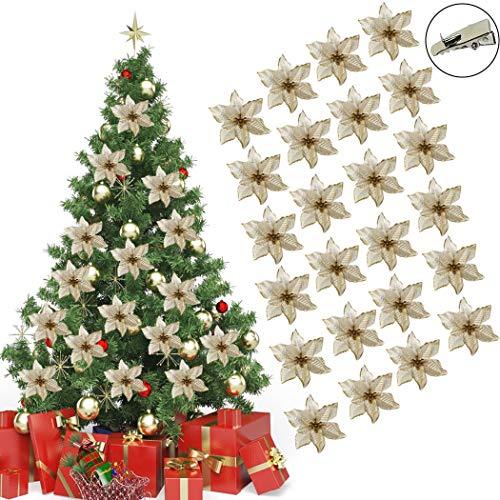 FunPa Weihnachtsbaumschmuck, 24 Stücke 13 cm Weihnachtsblumen Weihnachtsstern Deko Weihnachtsstern Blüten Glitzer Weihnachtssterne Christbaumschmuck für Weihnachten Hochzeit Dekoration