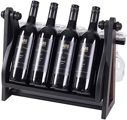 LIANYANG Weinregale freistehend Schaukel aus Holz, Weinglas verkehrt herum Weinschrank Dekoration, dekorative Weinflaschenhalter, freedining Tischplatte Display (45x24x35cm)