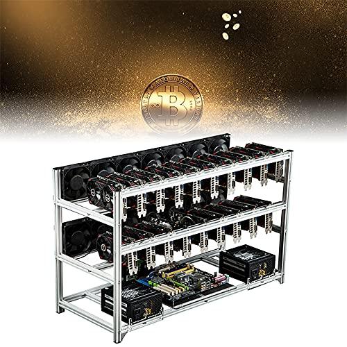 HRTX BTC Mining Frame, 19 GPU Mining Frame, Adapté à Toutes Les Grandes Cartes Mères et Alimentations, Utilisé pour Ethereum (ETH)/etc/zcash/monero/BTC,Blanc