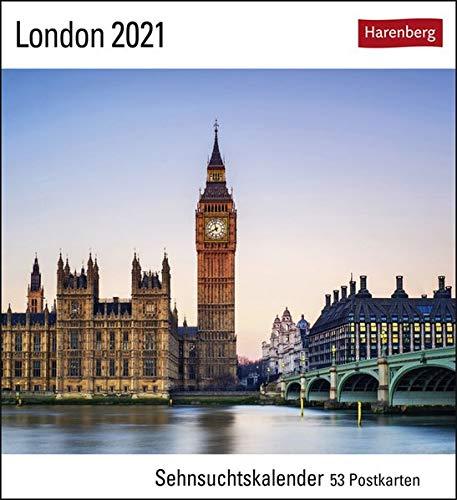 London Sehnsuchtskalender 2021 - Postkartenkalender mit Wochenkalendarium - 53 perforierte Postkarten zum Heraustrennen - zum Aufstellen oder ... x 17,5 cm: Sehnsuchtskalender, 53 Postkarten