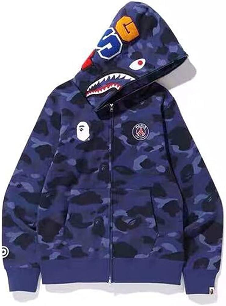 Shark Men's Hoodie Camo Shark Head Hip Hop Sweatshirt Zipper Camouflage