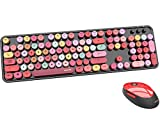 UBOTIE Colorful Computer Wireless Keyboard Mouse Combos, Typewriter Flexible Keys Office Full-Sized Keyboard, 2.4GHz Dropout-Free Connection and Optical Mouse (Black-Colorful)