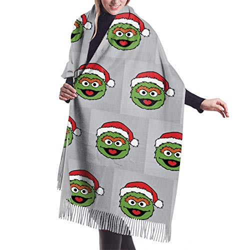 Ses-Ame Street Oscar The Grouch Christmas Hat Ladies Soft Large Cashmere Blend Scarf Warm Cashmere Skirt Elegant Shawl Wrap