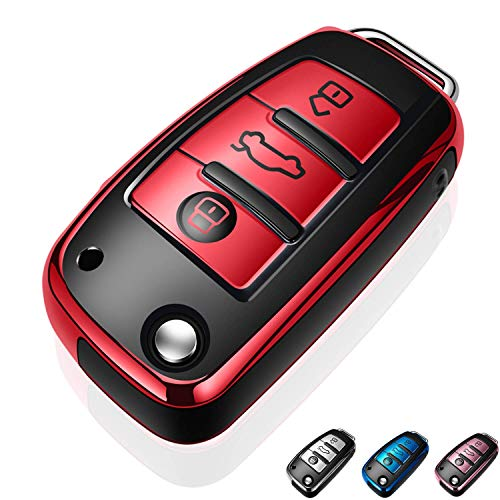 Autophone for Audi Key Fob Cover Case Premium Soft TPU 360 Degree Entire Protection Key Shell Key Case Cover Compatible with Audi A1 A3 A6 Q2 Q3 Q7 TT TTS R8 S3 S6 RS3 Smart Key-Red
