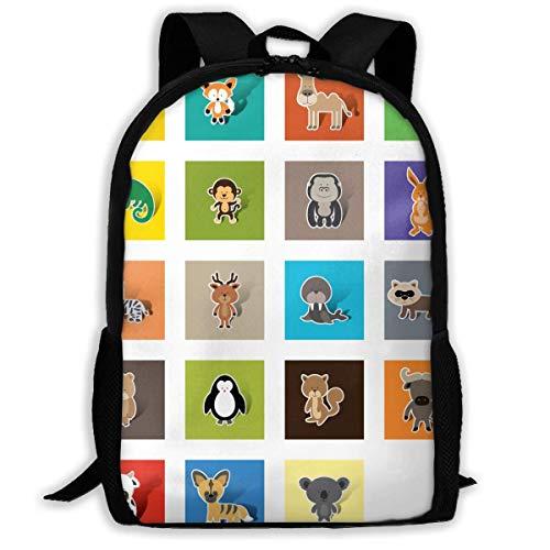 N/A NA Mochila para niñas y niños, colección de Animales con Cremallera, Mochila Escolar, Mochila de Viaje, Bolsa de Gimnasio, para Hombre y Mujer