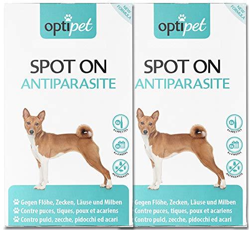 OptiPet Spot On 12x1,5ml Pipetten Spot on für Hunde Zecken- und Flohschutz gegen Parasiten gegen Flöhe Milben Zecken