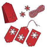 Joycabin 100 Piezas Etiquetas de Navidad, Papel Kraft Etiquetas con Copos de Nieve recortados, DIY Etiqueta Decorativa con Cuerda de 30 Metros para Bodas de Cumpleaños Regalo de Navidad